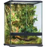 Exo Terra Rainforest Habitat Kit, Terrarien Starter Set Regenwald, inkl. Abdeckung, Thermometer, Hygrometer, 2 künstlichen Pflanzen, Bodengrund, Wassernapf, 2 Lianen, 45 x 45 x 60cm
