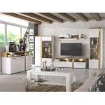expendio Wohnzimmer-Set »Talena 20«, (Spar-Set, 6-St), weiß Hochglanz / Artisan Eiche mit Softclose und LED-Beleuchtung, weiß, mit Beleuchtung