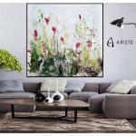 Extra Große Abstrakte Blume Malerei/Rosa & Grün Frühling Blumen Auf Bestellung in Benutzerdefinierte Größe Bis Zu 120 Zoll