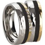Extravagantes Eheringe Set Paarringe Stahl Carbon Gold