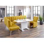 exxpo - sofa fashion Eckbank »Costa«, Frei im Raum stellbar, gelb, Ottomane links, langer Schenkel rechts, mustard - mustard