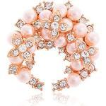 Fajewellery Schal Schmuck Camellia Blumen Perle Rhinestone Schal Clips Ringe Brosche für Damen