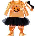 FANCYINN Baby Halloween Kostüm Outfits Strampler Baby Kürbis Lange Ärmel Gestreifter Overall Strampler Schwarzer Tutu Rock & Stirnbänder 2Stk. 3-6 Monate