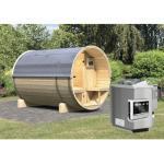 Fasssauna Karibu Sodalith II inkl. 9 kW Bio Ofen u.ext.Steuerung ohne Dachschindel mit bronzierter Ganzglastür