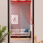FeiliandaJJ Transparente Gardinen mit ösen,100x200cm Türvorhang Vorhang Voile Heart-Shaped Waschbar Gardinenschals Fenstervorhang Vorhänge für Wohnzimmer Schlafzimmer, 1 Stücke (Rot)