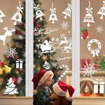Fensterbilder Weihnachten Selbstklebend,Aivatoba Fensterdeko Weihnachten Kinderzimmer Weihnachtsmann Winter Schneeflocken PVC Aufklebe Fensterbilder Weihnachten Dekoration Weiß Wiederverwendbar