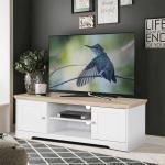 Fernsehmöbel in Weiß und Eichefarben Landhausstil