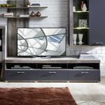 Fernsehunterschrank in Dunkelgrau und Treibholz Optik 210 cm breit