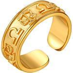 FindChic vergoldet Herren Damen Fingerring Retro Fingerring mit Sternzeichen Waage Design Partnerring Freundschaftsring kostenlos Schmuckbox