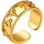 FindChic vergoldet offener Fingerring Damen Herren Geburt Retro Sternzeichen Steinbock Ring Partnerring Freundschaftsring für Paar Pärchen