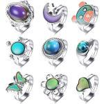 Finrezio 9 STK Farbwechsel Gefühlsring für Frauen Mädchen Stimmungsring Einstellbar Inspirierende Fingerring Set