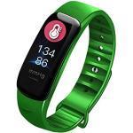 Fitness Tracker, IP68 Wasserdicht Smartwatch mit Pulsmesser 0,96 Zoll Farbbildschirm Aktivitätstracker Pulsuhren Schrittzähler Smart Armband Fitness Uhr für Damen Herren (Grün)