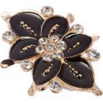 Floraler Zierverschluss in Gold schwarz emailliert besetzt mit Strasssteinen 55mm