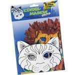 folia 23202 - Kindermasken Katze, aus Pappe, 6 Stück, weiß, zum selbst Bemalen und Gestalten, für Kinder, Jungen und Mädchen, ideal für Kindergeburtstage und Partys