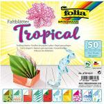 folia 470/1515 - Faltblätter Tropical, 15 x 15 cm, 80 g/qm, 50 Blatt sortiert in 10 Motiven - ideal für wunderschöne Faltfiguren und -formen