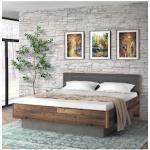 FORTE Futonbett Clif, mit gepolstertem Kopfteil grau Doppelbetten Betten