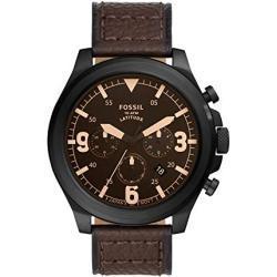 FOSSIL Latitude-Chronograph Uhr mit braunem Lederarmband für Herren FS5751