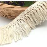 FQTANJU 9,1 m x 6 cm breite Fransen aus Baumwolle in Beige.