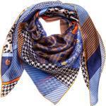 FRAAS Seidentuch Halstuch blau braun schwarz Muster Seide 88x88 cm