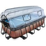 Frame Pool 4x2x1m (12v Sandfilter) – Holz optik + Sonnendach + Wärmepumpe braun