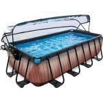 Frame Pool Premium 4x2x1m mit Sonnendach, Holz Optik, inkl. Sandfilteranlage braun