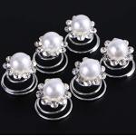 Frcolor Brautjungfer Perlenwirbel Haarspiralen Pin Clip Zubehör, 12 Stück