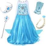 FStory&Winyee Kinder Kostüm Karneval Eiskönigin ELSA Kleid Cosplay Mädchen Prinzessin Kleid Glanz Blau Lang Kinder Fasching Kostüme Verkleidung Weihnachten Halloween Fest