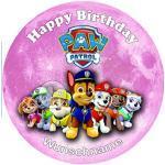 Für den Geburtstag ein Tortenbild + Wunschname Zuckerbild mit dem Motiv: Paw Patrol, Essbares Foto für Torten, Tortenbild, Tortenaufleger Ø 20cm - Super Qualität, 0183w
