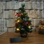 FUGUI Weihnachten Deko, LED Licht Mini Weihnachtsbaum Künstlich Geschmückt Weihnachtsdeko für Tische & Schreibtische 20cm (Grün Gold)