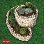 Gabionen-Kräuterspirale rund 110x90x20-60cm