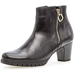 Schwarze Runde Gabor Comfort Blockabsatz Ankle Boots & Klassische Stiefeletten mit Reißverschluss in Breitweite aus Glattleder für Damen mit Absatzhöhe 5cm bis 7cm