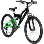 Galano FS180 24 Zoll Mountainbike Full Suspension Jugendfahrrad Fully MTB Jugendliche ab 8 Jahre Fahrrad... schwarz/grün, 37 cm