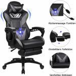 Gaming Stuhl Massage Computer Stuhl PU Leder verstellbare Stühle mit Fußstütze und Lendenwirbelstütze Grau