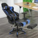 Gaming Stuhl, Racing Stuhl,Ergonomischer Bürostuhl Verstellbare Rückenlehne, verstellbare Armlehnen, mit Kissen Taille,Blau+Schwarz - Blau+Schwarz