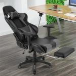 Gaming Stuhl, Racing Stuhl,Ergonomischer Bürostuhl Verstellbare Rückenlehne, verstellbare Armlehnen, mit Kissen Taille,Grau+Schwarz - Grau+Schwarz