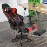 Gaming Stuhl, Racing Stuhl,Ergonomischer Bürostuhl Verstellbare Rückenlehne, verstellbare Armlehnen, mit Kissen Taille,Rot+schwarz - Rot+schwarz