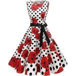 Rosa Ärmellose Rockabilly Rockabilly-Kleider & 50er Jahre Kleider mit Kirschenmotiv mit Reißverschluss zur Hochzeit für Damen Übergrößen