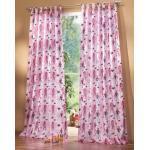 Gardinenbox Kindergardinen für Mädchen, Set besteht aus 2 Schlaufenschals und 2 Raffhaltern, 245x140, Pink, 600101