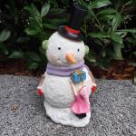 Gartenfigur Schneemann Figur mit Hut 30 cm
