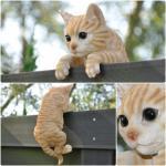 Gartenfigur / Zaunfigur - kletternde Katze