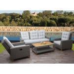 Gartengarnitur HWC-G28, Sitzgruppe Lounge-Set Sofa, Akazie Holz halbrundes Rattan verstellbar ' grau, Kissen hellgrau
