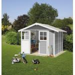 Gartenhaus Grosfillex Lodge M 242 x 202 cm hellgrau-weiß
