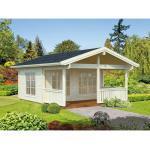 Gartenhaus Palmako Agneta 18,8+12,5 m² inkl. Fußboden, Vordach und Terrasse 500 x 650 cm natur