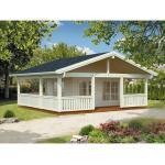 Gartenhaus Palmako Agneta 18,8+28,8 m² inkl. Fußboden, Vordach und Terrasse 750 x 650 cm natur