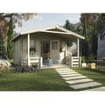 Gartenhaus weka mit Vordach, Brüstung und Fußboden 380 x 300 cm natur