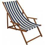Gartenliege blau-weiß Liegestuhl Sonnenliege Strandstuhl Deckchair Buche dunkel klappbar 10-317 4250639587083 (10-317)