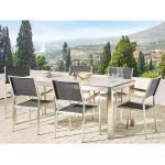 Gartenmöbel Set Weiß/Schwarz Edelstahl HPL-Platte Tisch 180 cm mit 6 Stühlen Terrasse Outdoor Modern