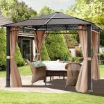 Gartenpavillon Hardtop Rendezvous Deluxe cappuccino, 3x3m Pavillon
