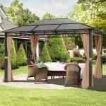 Gartenpavillon Hardtop Rendezvous Deluxe cappuccino, 3x4m Pavillon