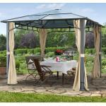 Gartenpavillon Hardtop Sunset Deluxe champagner, 3x3m Pavillon